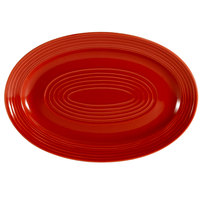 CAC TG-51-R Tango 15 3/4 inch x 11 inch Red Oval Platter - 12/Case