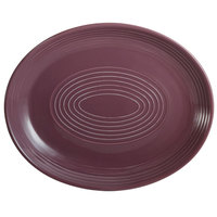 CAC TG-14C-PLM Tango 12 3/4 inch x 10 1/4 inch Plum Coupe Oval Platter - 12/Case