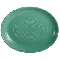 CAC TG-14C-G Tango 12 3/4 inch x 10 1/4 inch Green Coupe Oval Platter - 12/Case
