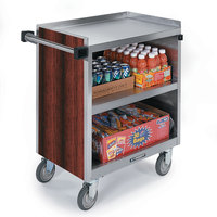 Lakeside 844 3 Shelf Heavy Duty Stainless Steel Utility Cart with Enclosed Base and Red Maple Finish - 22 1/2 inch x 39 5/16 inch x 37 inch