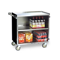 Lakeside 644 3 Shelf Medium Duty Stainless Steel Utility Cart with Enclosed Base and Black Finish - 22 1/2 inch x 39 1/4 inch x 37 3/8 inch