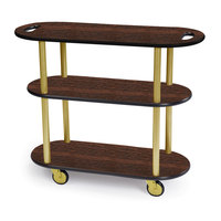 Geneva 36204 Oval 3 Shelf Laminate Table Side Service Cart with Handle Cutouts and Mahogany Finish - 16 inch x 42 3/8 inch x 35 1/4