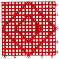 San Jamar VM5280RD-12 Versa-Mat® 12 inch x 12 inch Red Interlocking Bar Matting - 12 / Case