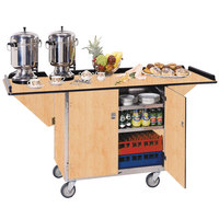 Lakeside 675 Stainless Steel Drop-Leaf Beverage Service Cart with 3 Shelves and Hard Rock Maple Finish - 44 1/4 inch x 24 inch x 38 1/4 inch