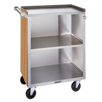 Lakeside 810 3 Shelf Medium Duty Stainless Steel Utility Cart with Enclosed Base and Light Maple Finish - 16 7/8 inch x 28 1/4 inch x 34 1/2 inch