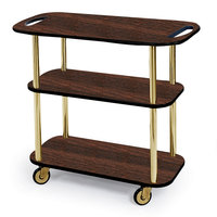 Geneva 36104 Rectangular 3 Shelf Laminate Tableside Service Cart with Handle Cutouts and Mahogany Finish - 16 inch x 42 3/8 inch x 35 1/4