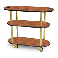 Geneva 36204 Oval 3 Shelf Laminate Table Side Service Cart with Handle Cutouts and Victorian Cherry Finish - 16 inch x 42 3/8 inch x 35 1/4