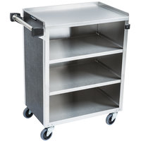 Lakeside 615 4 Shelf Standard Duty Stainless Steel Utility Cart with Enclosed Base and Black Finish - 16 1/2 inch x 27 3/4 inch x 32 3/4 inch