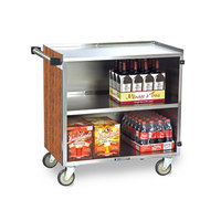 Lakeside 644 3 Shelf Medium Duty Stainless Steel Utility Cart with Enclosed Base and Victorian Cherry Finish - 22 1/2 inch x 39 1/4 inch x 37 3/8 inch