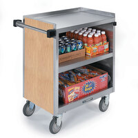 Lakeside 844 3 Shelf Heavy Duty Stainless Steel Utility Cart with Enclosed Base and Light Maple Finish - 22 1/2 inch x 39 5/16 inch x 37 inch