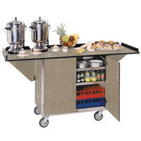 Lakeside 675 Stainless Steel Drop-Leaf Beverage Service Cart with 3 Shelves and Beige Suede Finish - 44 1/4 inch x 24 inch x 38 1/4 inch