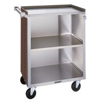 Lakeside 810 3 Shelf Medium Duty Stainless Steel Utility Cart with Enclosed Base and Walnut Finish - 16 7/8 inch x 28 1/4 inch x 34 1/2 inch
