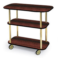 Geneva 36104 Rectangular 3 Shelf Laminate Tableside Service Cart with Handle Cutouts and Red Maple Finish - 16 inch x 42 3/8 inch x 35 1/4