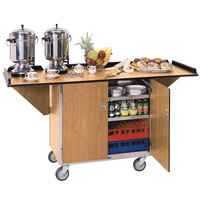 Lakeside 675 Stainless Steel Drop-Leaf Beverage Service Cart with 3 Shelves and Light Maple Finish - 44 1/4 inch x 24 inch x 38 1/4 inch