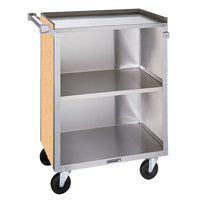 Lakeside 810 3 Shelf Medium Duty Stainless Steel Utility Cart with Enclosed Base and Hard Rock Maple Finish - 16 7/8 inch x 28 1/4 inch x 34 1/2 inch