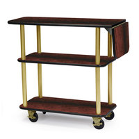 Geneva 36102 Rectangular 3 Shelf Laminate Tableside Service Cart with 10 inch Drop Leaf and Red Maple Finish - 16 inch x 48 inch x 35 1/4