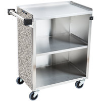 Lakeside 610 3 Shelf Standard Duty Stainless Steel Utility Cart with Enclosed Base and Gray Sand Finish - 16 1/2 inch x 27 3/4 inch x 32 3/4 inch