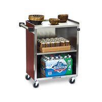 Lakeside 610 3 Shelf Standard Duty Stainless Steel Utility Cart with Enclosed Base and Red Maple Finish - 16 1/2 inch x 27 3/4 inch x 32 3/4 inch