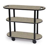 Geneva 36204 Oval 3 Shelf Laminate Table Side Service Cart with Handle Cutouts and Beige Suede Finish - 16 inch x 42 3/8 inch x 35 1/4