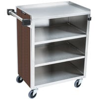 Lakeside 615 4 Shelf Standard Duty Stainless Steel Utility Cart with Enclosed Base and Walnut Finish - 16 1/2 inch x 27 3/4 inch x 32 3/4 inch