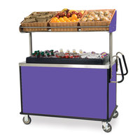 Lakeside 668 Stainless Steel Vending Cart with Insulated Polyethylene Ice Bin, Overhead Shelf, and Purple Finish - 28 1/2 inch x 54 3/4 inch x 67 inch