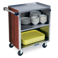 Lakeside 622 3 Shelf Medium Duty Stainless Steel Utility Cart with Enclosed Base and Red Maple Finish - 19 inch x 30 3/4 inch x 33 7/8 inch