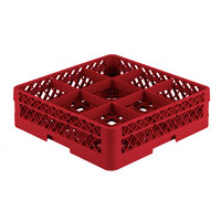 Vollrath TR10A Traex Full-Size Red 9-Compartment 4 13/16 inch Glass Rack with Open Rack Extender On Top
