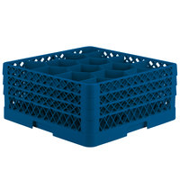 Vollrath TR18JJJ Traex Rack Max Full-Size Royal Blue 12-Compartment 7 7/8 inch Glass Rack