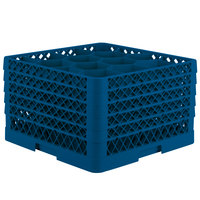 Vollrath TR18JJJJA Traex Rack Max Full-Size Royal Blue 12-Compartment 11 inch Glass Rack with Open Rack Extender On Top