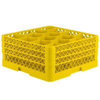 Vollrath TR18JJJ Traex Rack Max Full-Size Yellow 12-Compartment 7 7/8 inch Glass Rack