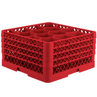 Vollrath TR18JJJJ Traex Rack Max Full-Size Red 12-Compartment 9 7/16 inch Glass Rack