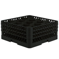 Vollrath TR18JJJ Traex Rack Max Full-Size Black 12-Compartment 7 7/8 inch Glass Rack