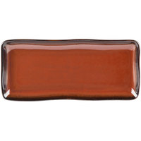 Tuxton GAR-550 Artisan Red Rock 11 5/8 inch x 5 1/8 inch China Tray - 12/Case