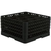 Vollrath TR18JJJJ Traex Rack Max Full-Size Black 12-Compartment 9 7/16 inch Glass Rack