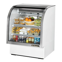 True TCGG-36 36 inch White Curved Glass Refrigerated Deli Case With Stainless Steel Top and Trim - 17 Cu. Ft.