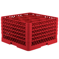 Vollrath TR18JJJJA Traex Rack Max Full-Size Red 12-Compartment 11 inch Glass Rack with Open Rack Extender On Top