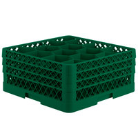 Vollrath TR18JJJ Traex Rack Max Full-Size Green 12-Compartment 7 7/8 inch Glass Rack