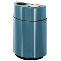 Rubbermaid FGH2436SUT Half Rounds Open-Top Country Blue Fiberglass Waste Receptacle with Rigid Plastic Liner and Sand Urn Cap Ash Tray 24 Gallon (FGFGH2436SUTPLCBL)
