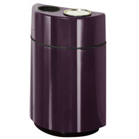 Rubbermaid FGH2436SUT Half Rounds Open-Top Eggplant Fiberglass Waste Receptacle with Rigid Plastic Liner and Sand Urn Cap Ash Tray 24 Gallon (FGFGH2436SUTPLEGP)