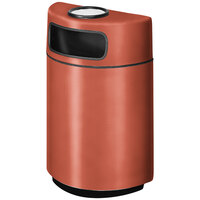 Rubbermaid FGH2436SU Half Round Open Front Terra Cotta Fiberglass Waste Receptacle with Rigid Plastic Liner and Sand Urn Cap Ash Tray 18 Gallon (FGFGH2436SUPLTRC)