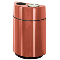 Rubbermaid FGH2436SUT Half Rounds Open-Top Terra Cotta Fiberglass Waste Receptacle with Rigid Plastic Liner and Sand Urn Cap Ash Tray 24 Gallon (FGFGH2436SUTPLTRC)