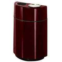 Rubbermaid FGH2436SUT Half Rounds Open-Top Burgundy-Wine Fiberglass Waste Receptacle with Rigid Plastic Liner and Sand Urn Cap Ash Tray 24 Gallon (FGFGH2436SUTPLBYW)