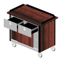 Lakeside 69040 Stainless Steel Beverage Service Cart with 2 Drawers and Red Maple Laminate Finish - 26 inch x 44 1/2 inch x 37 3/4 inch