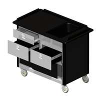 Lakeside 69030 Stainless Steel Beverage Service Cart with 3 Drawers and Black Laminate Finish - 26 inch x 44 1/2 inch x 37 3/4 inch
