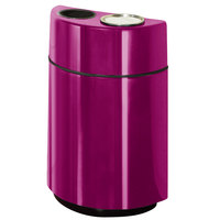 Rubbermaid FGH2436SUT Half Rounds Open-Top Bright Plum Fiberglass Waste Receptacle with Rigid Plastic Liner and Sand Urn Cap Ash Tray 24 Gallon (FGFGH2436SUTPLBPM)