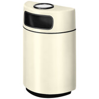 Rubbermaid FGH2436SU Half Round Open Front Ivory Fiberglass Waste Receptacle with Rigid Plastic Liner and Sand Urn Cap Ash Tray 18 Gallon (FGFGH2436SUPLIV)