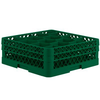 Vollrath TR18JJ Traex Rack Max Full-Size Green 12-Compartment 6 3/8 inch Glass Rack