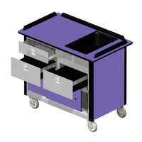 Lakeside 69030 Stainless Steel Beverage Service Cart with 3 Drawers and Purple Laminate Finish - 26 inch x 44 1/2 inch x 37 3/4 inch