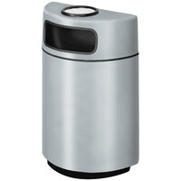 Rubbermaid FGH2436SU Half Round Open Front Warm Gray Fiberglass Waste Receptacle with Rigid Plastic Liner and Sand Urn Cap Ash Tray 18 Gallon (FGFGH2436SUPLWMG)