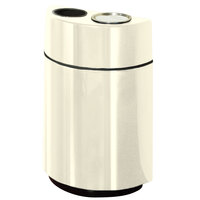 Rubbermaid FGH2436SUT Half Rounds Open-Top Ivory Fiberglass Waste Receptacle with Rigid Plastic Liner and Sand Urn Cap Ash Tray 24 Gallon (FGFGH2436SUTPLIV)